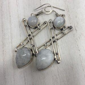 Moonstone Gemstone Sterling Silver Earrings
